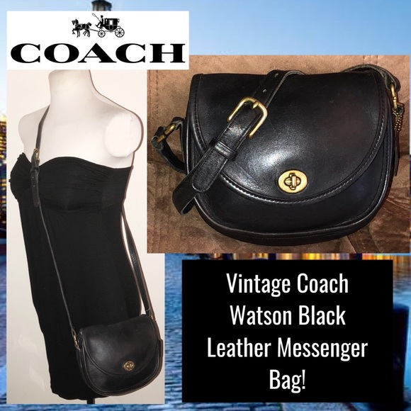 Coach Handbags - Vintage Coach Watson Black Leather Messenger Bag! 720d2cb90bc37